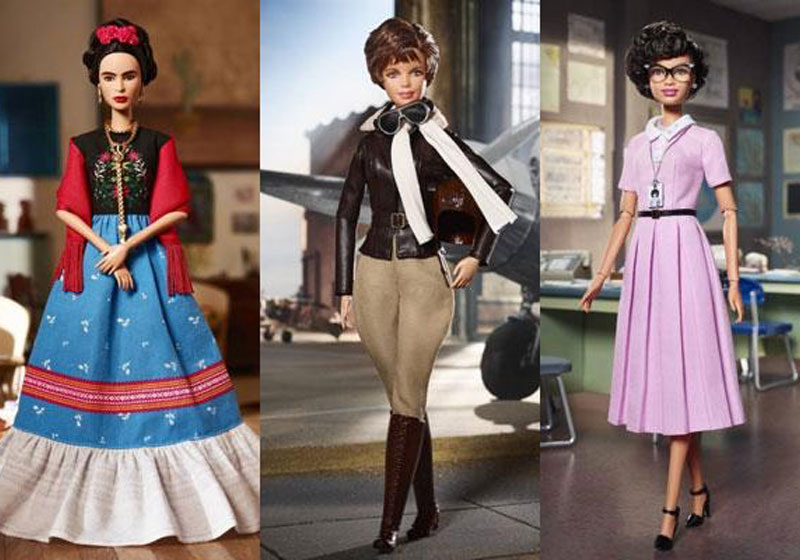 Barbie Frida Kahlo, Amelia Earhart e Katherine Johnson