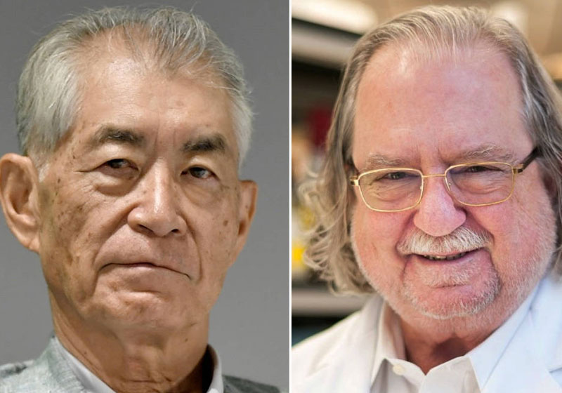 Tasuku Honjo e James P. Allison - Fotos: Reuters